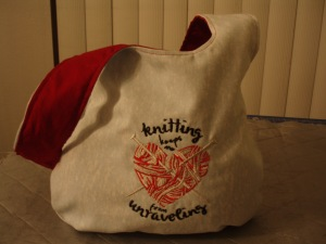 Knitting Keeps me from Unraveling Knot Bag