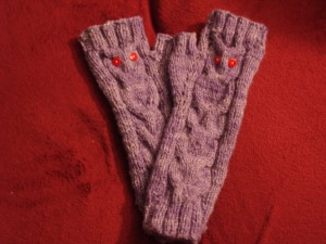 Owl Fingerless Mitts