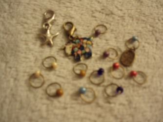 Close up of new stitch markers