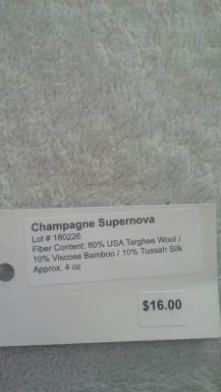 Champagne Supernova roving targhee wool viscose bamboo and tussah silk
